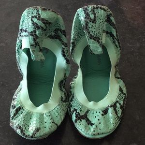 Yosi Samra Turquoise Snake Ballet Flats 9 8.5